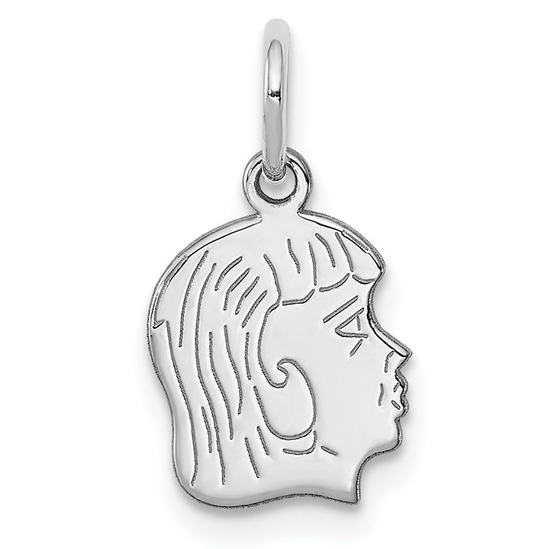 Quality Gold Sterl Silver Rh-plt Engraveable Girl Polished Front/Satin Back Disc Charm