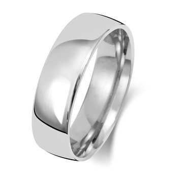 9Ct White Gold 6mm Slight Court Wedding Ring