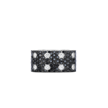 18KT GOLD 2 ROW RING WITH BLACK AND WHITE DIAMONDS