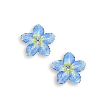 Blue Forget-Me-Not Stud Earrings.Sterling Silver