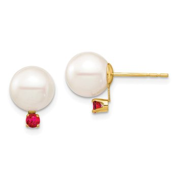 14K 8-8.5mm White Round Freshwater Cultured Pearl Ruby Post Earrings