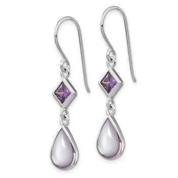Sterling Silver Rhod-plated Purple CZ and Purple MOP Dangle Earrings