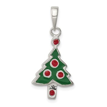 Sterling Silver Enameled Christmas Tree Pendant