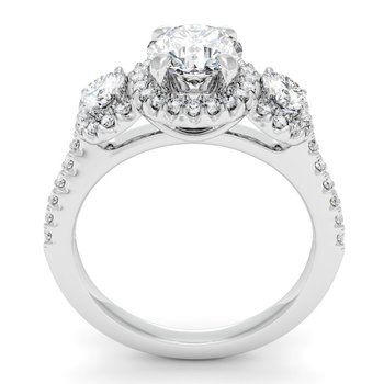 Pave Halo Three Stone Engagement Ring with Diamond Accents