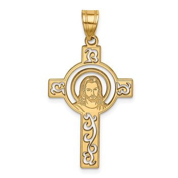 14k Laser Cut Jesus Face Cross Charm