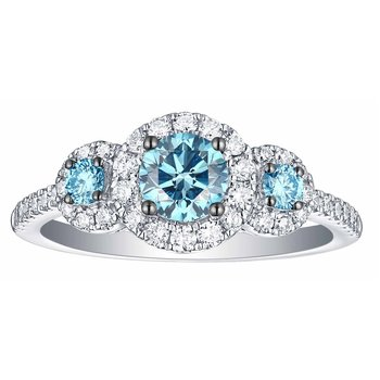 Smiling Rocks 1.08Ct Lab Grown Blue Color Diamond With G-H/VS1 Diamond 3-Stone Halo Engagement Ring