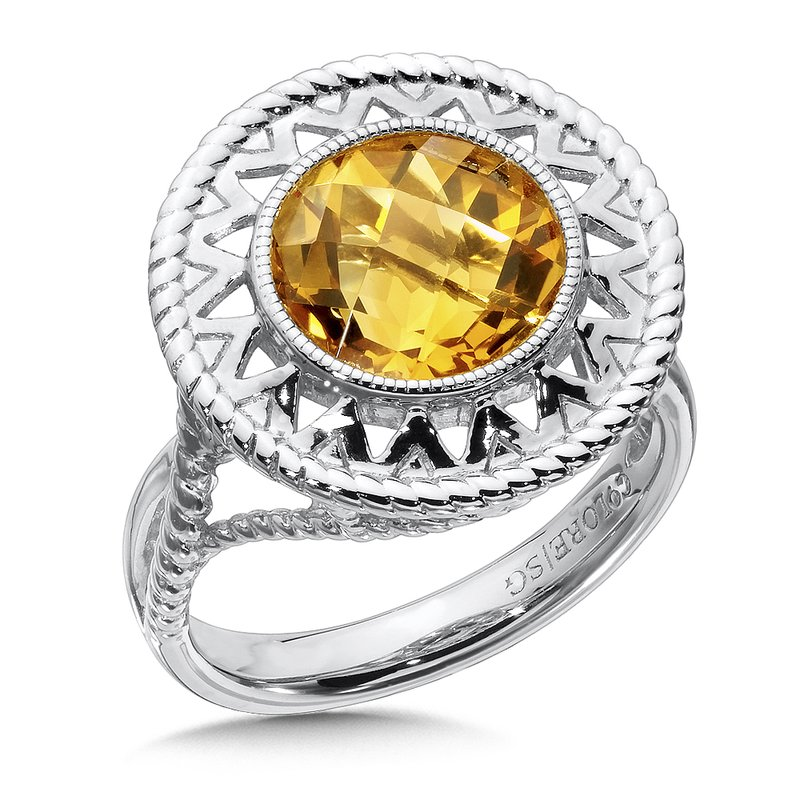 Sterling Silver Citrine Cairo Ring