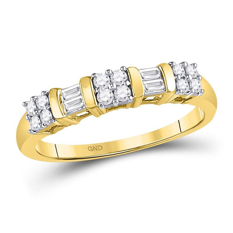 Gold-N-Diamonds 14kt Yellow Gold Womens Round Baguette Diamond Band Ring 1/4 Cttw