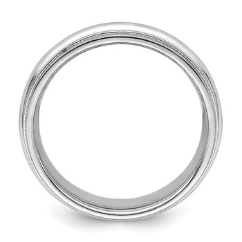 Sterling Silver Rhodium 6mm Comfort Fit Double Milgrain Size 10 Band
