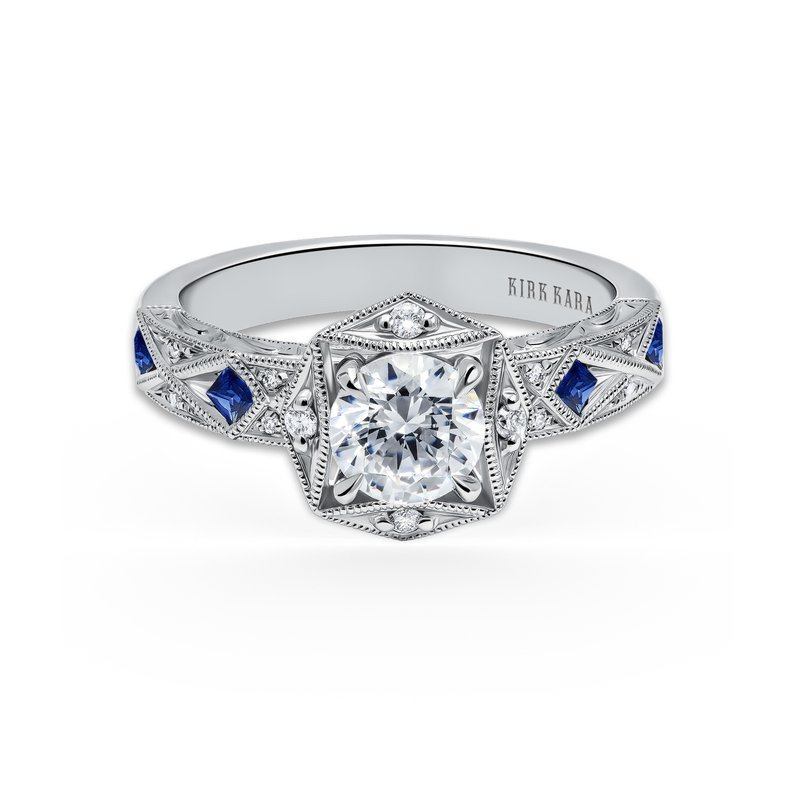 Kirk Kara 18K White Gold Diamond Natural Blue Sapphire Halo Engagement Ring
