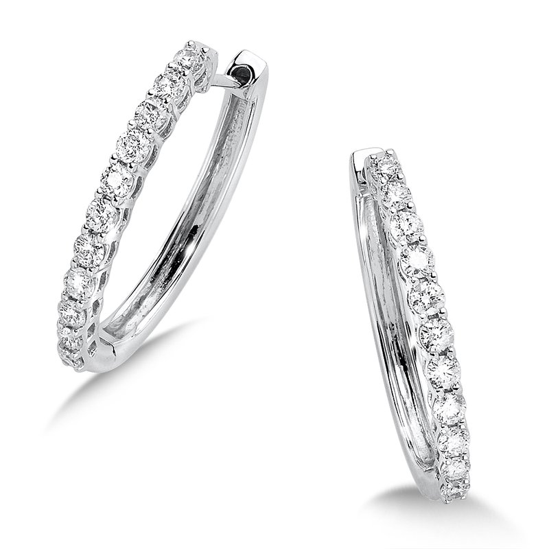 SDC Creations Pave set Diamond Oval Hoops in 14k White Gold (1ct. tw.) JK/I1
