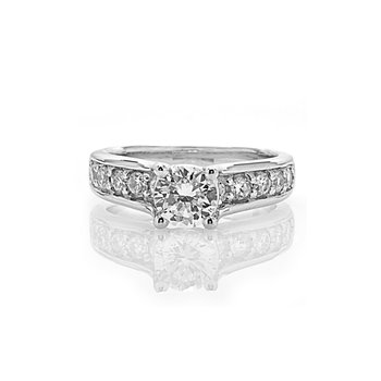 Cathedral Style Milgrain Design Diamond Engagement Ring