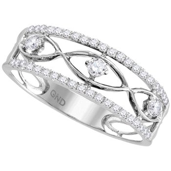 10kt White Gold Womens Round Diamond Band Ring 1/3 Cttw