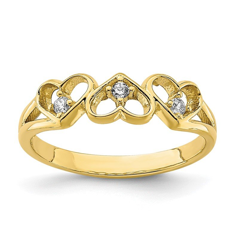 Quality Gold 10K CZ 3-Heart Child's Ring