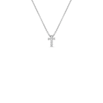 18K WG TINY DIAMOND CROSS PENDANT ON CHAIN