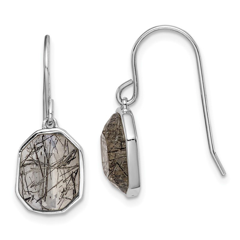 Quality Gold Sterling Silver Rhodium-plated Rutilated Quartz Dangle Earrings