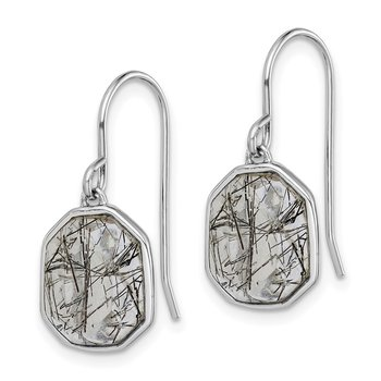 Sterling Silver Rhodium-plated Rutilated Quartz Dangle Earrings