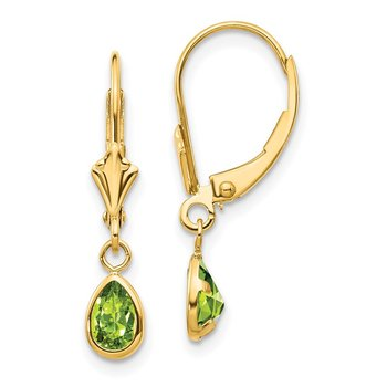 14k 6x4mm August/Peridot Earrings