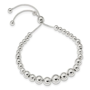Sterling Silver Graduated Beads Adjustable Necklace