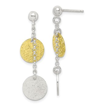Sterling Silver and Vermeil Polished and Textured Dangle Earrings