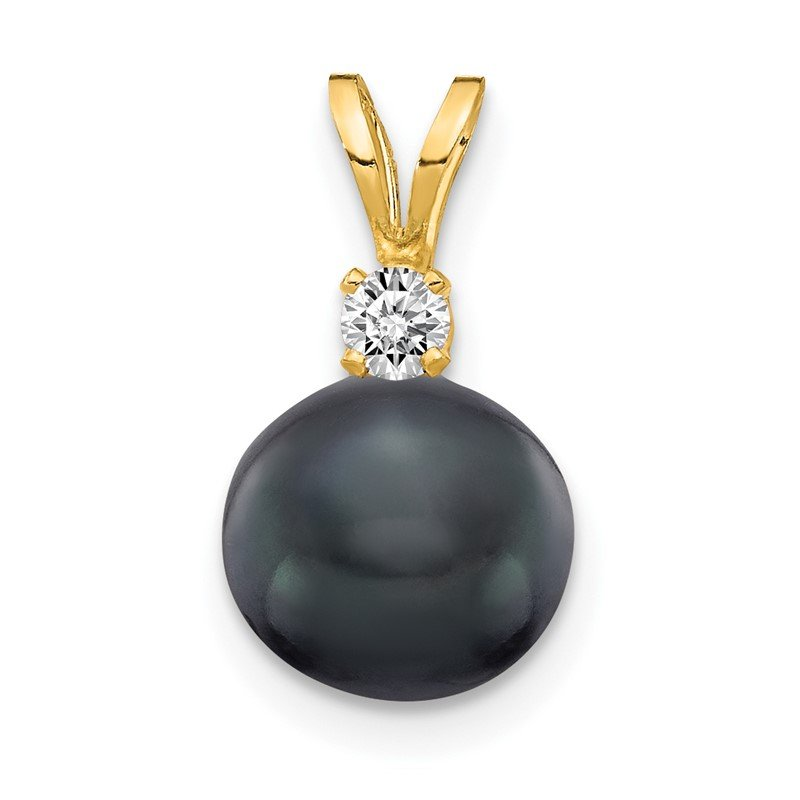 Quality Gold 14k 7mm Black FW Cultured Pearl AA Diamond Pendant
