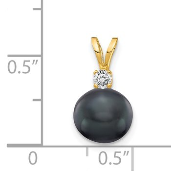 14k 7mm Black FW Cultured Pearl AA Diamond Pendant