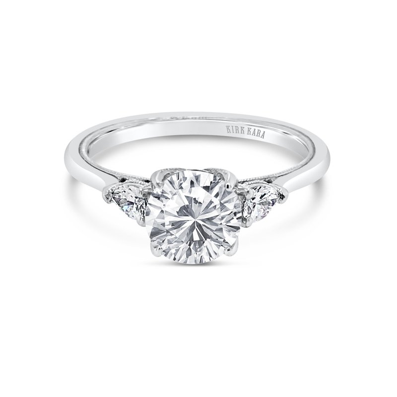 Kirk Kara Three Stone Pear Diamond Engagement Ring