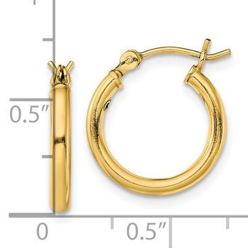 Sterling Silver Gold-Tone Polished 2x15mm Hoop Earrings