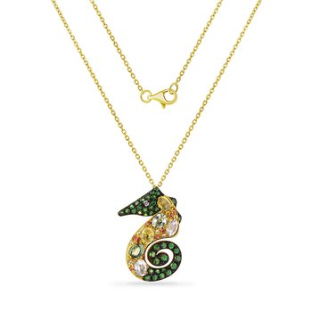 colorful sea horse necklace with 21 fancy color sapphire 1.41CT, 38 green garnet 0.45CT & 1 diamond 0.01CT 34mm long X 27mm wide