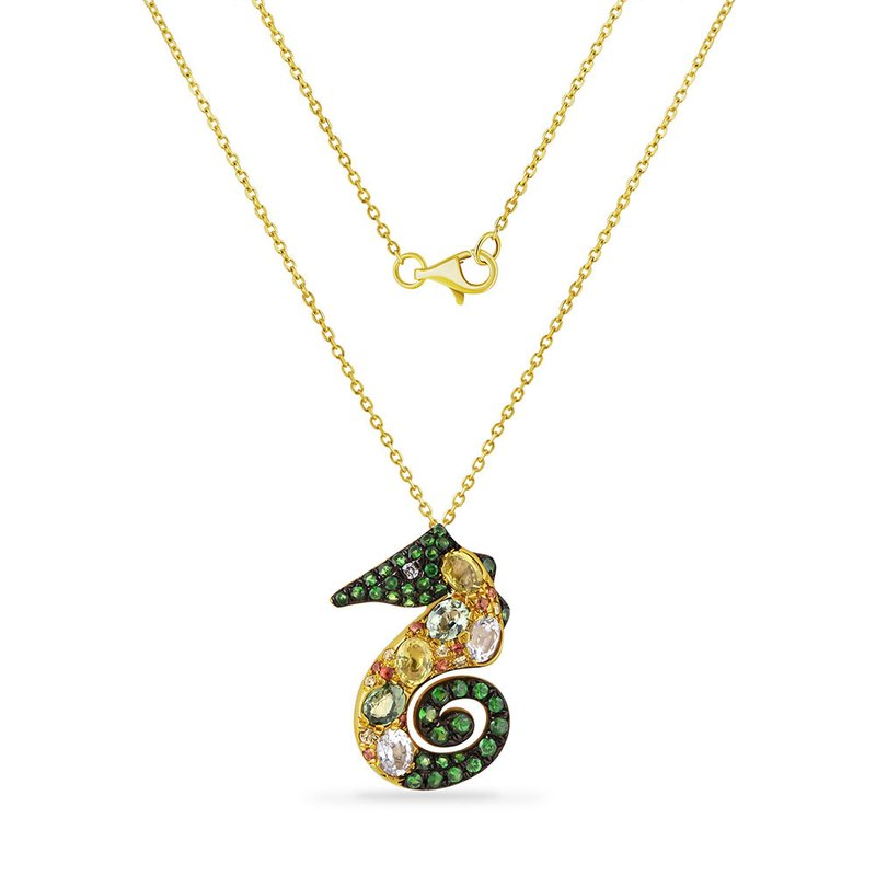 Shula NY colorful sea horse necklace with 21 fancy color sapphire 1.41CT, 38 green garnet 0.45CT & 1 diamond 0.01CT 34mm long X 27mm wide