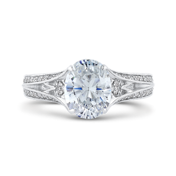 18K White Gold Oval Diamond Engagement Ring with Split Shank (Semi-Mount)