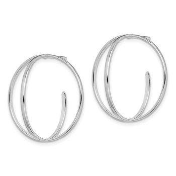 Sterling Silver Rhodium-plated Orb Post Earrings