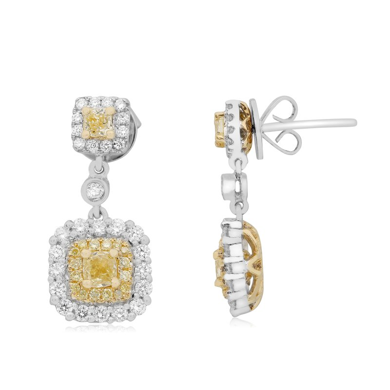 Roman & Jules Two Tone Diamond Drop Earrings