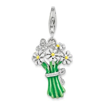 Sterling Silver RH w/Lobster Clasp Enameled Bouquet of Daisies Charm
