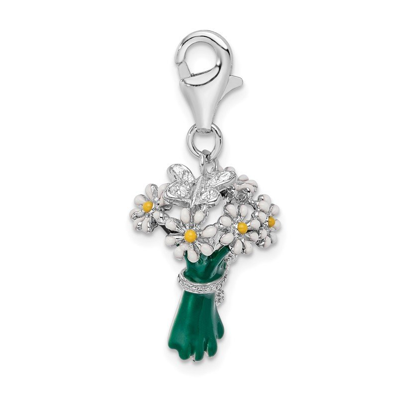 JC Sipe Essentials Sterling Silver Amore La Vita Rhod-pl Enameled Bouquet of Daisies Charm