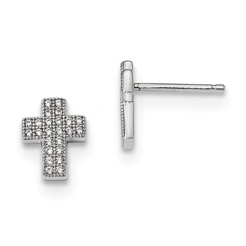 Sterling Silver & CZ Brilliant Embers Cross Post Earrings