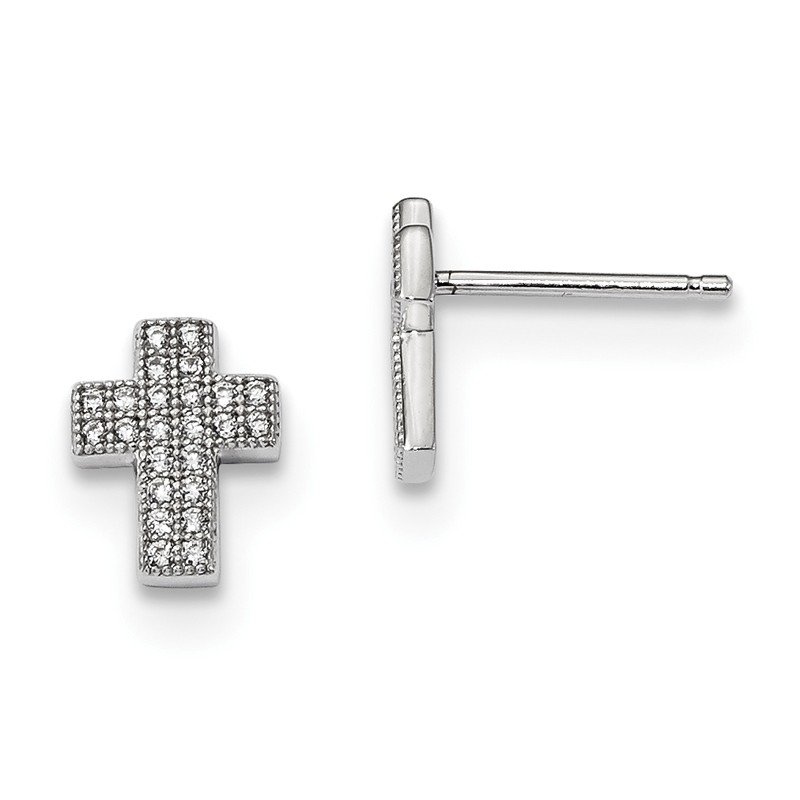 Quality Gold Sterling Silver & CZ Brilliant Embers Cross Post Earrings