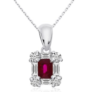 14k White Gold Ruby and Diamond Baguette Pendant
