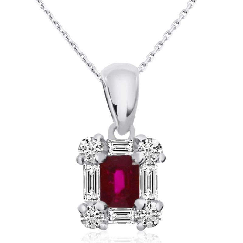 Color Merchants 14k White Gold Ruby and Diamond Baguette Pendant