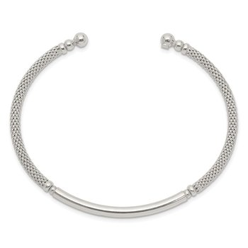 Sterling Silver Bar Textured Cuff Bangle