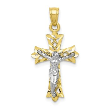 10K w/Rhodium Filigree Crucifix Pendant