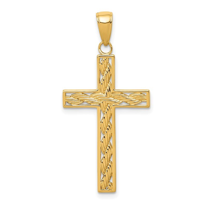 Fine Jewelry by JBD 14k Rope Cross Pendant