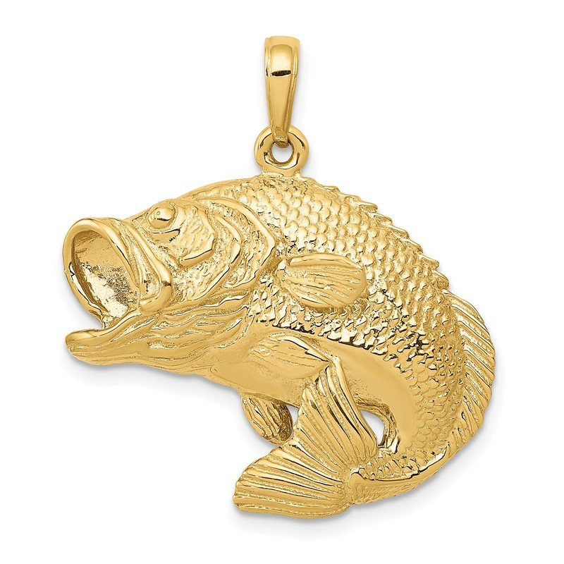Quality Gold 14k Bass Fish Jumping Pendant