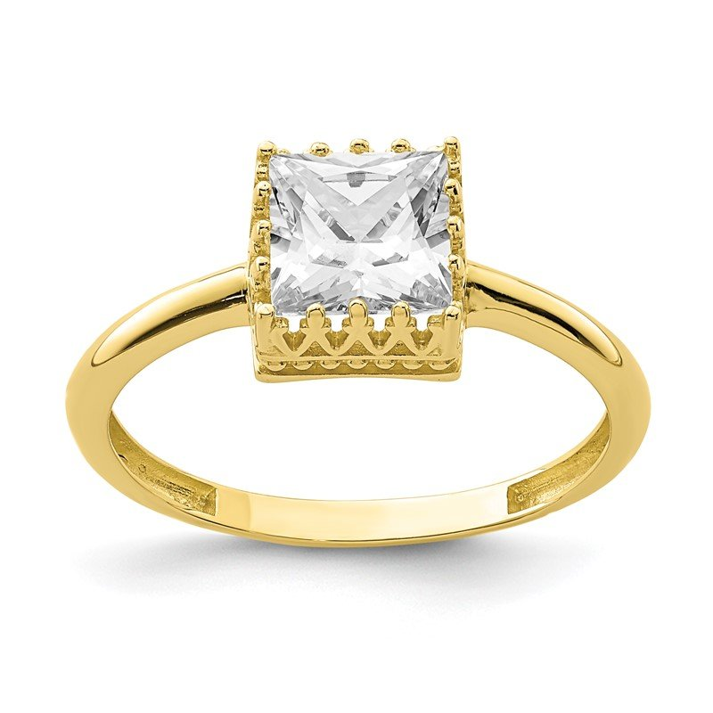 Lester Martin Online Collection 10k Tiara Collection Polished Square CZ Ring