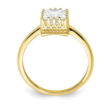 10k Tiara Collection Polished Square CZ Ring