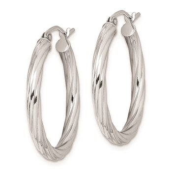 Sterling Silver Rhodium-plated 2.7x25mm Twisted Hoop Earrings