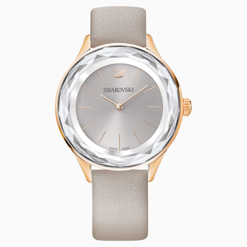 Octea Nova Watch, Leather strap, Gray, Rose-gold tone PVD