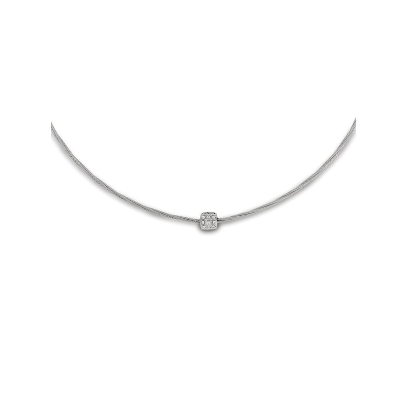 ALOR Grey Micro Cable Necklace with Single Square Station set in 18kt White Gold