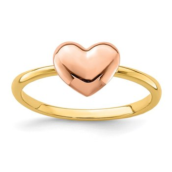 14K Two-tone Polished Heart Ring