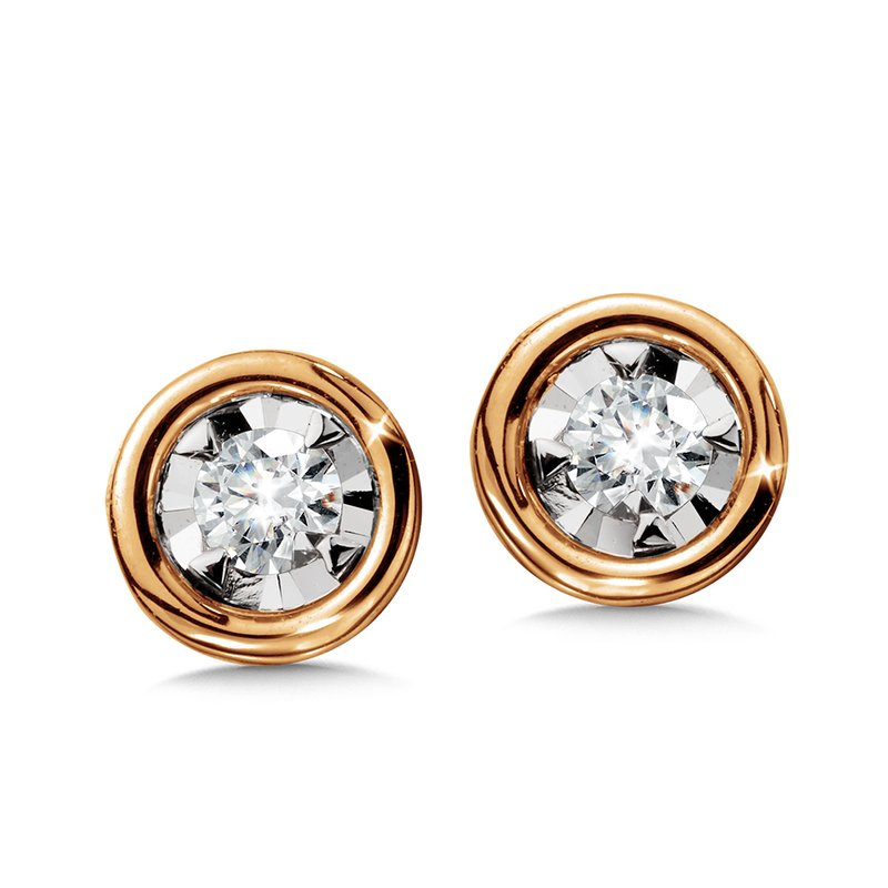 SDC Creations Bezeled Diamond Star Solitaire Stud Earrings
